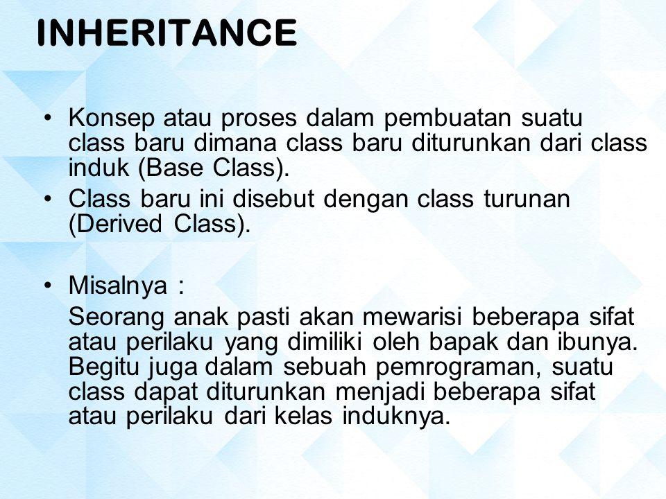 INHERITANCE Konsep atau proses dalam pembuatan suatu class baru dimana class baru diturunkan dari class induk (Base Class).