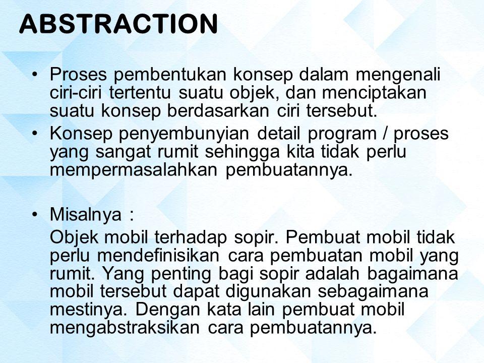 ABSTRACTION Proses pembentukan konsep dalam mengenali ciri-ciri tertentu suatu objek, dan menciptakan suatu konsep berdasarkan ciri tersebut.