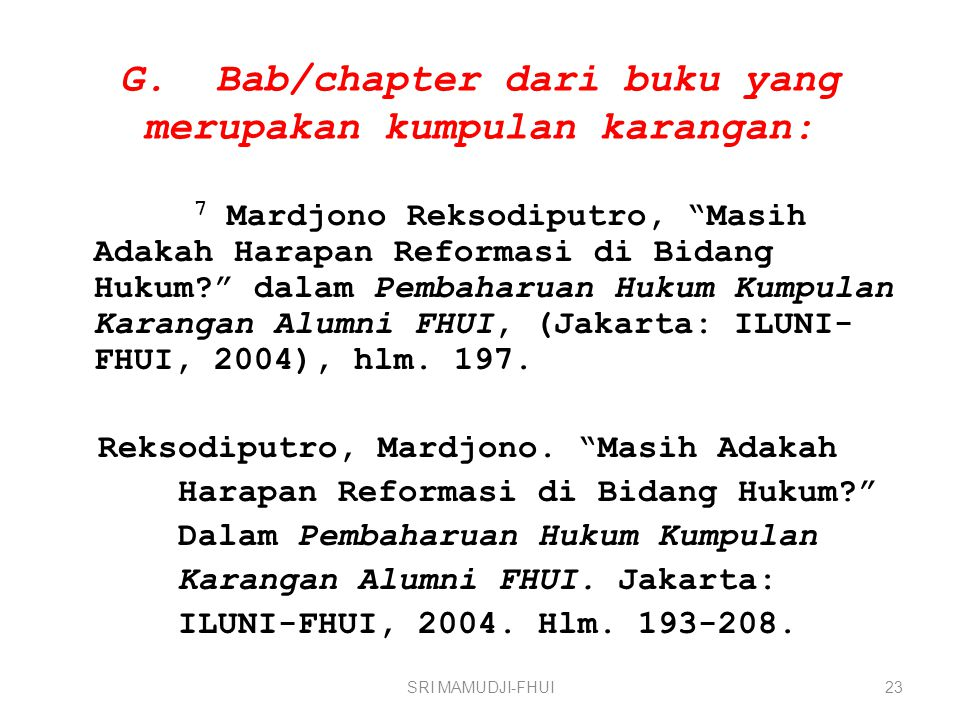 G. Bab/chapter dari buku yang merupakan kumpulan karangan: