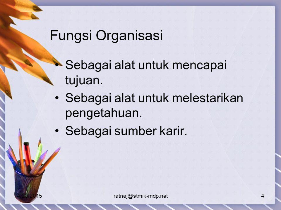Fungsi Organisasi Sebagai alat untuk mencapai tujuan.