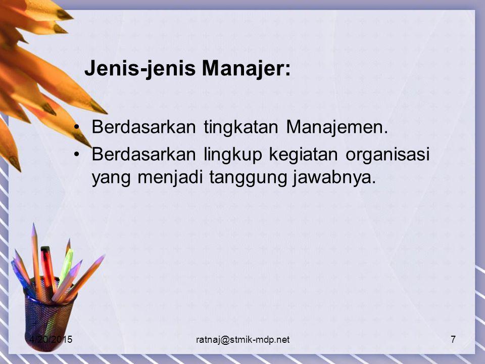 Jenis-jenis Manajer: Berdasarkan tingkatan Manajemen.