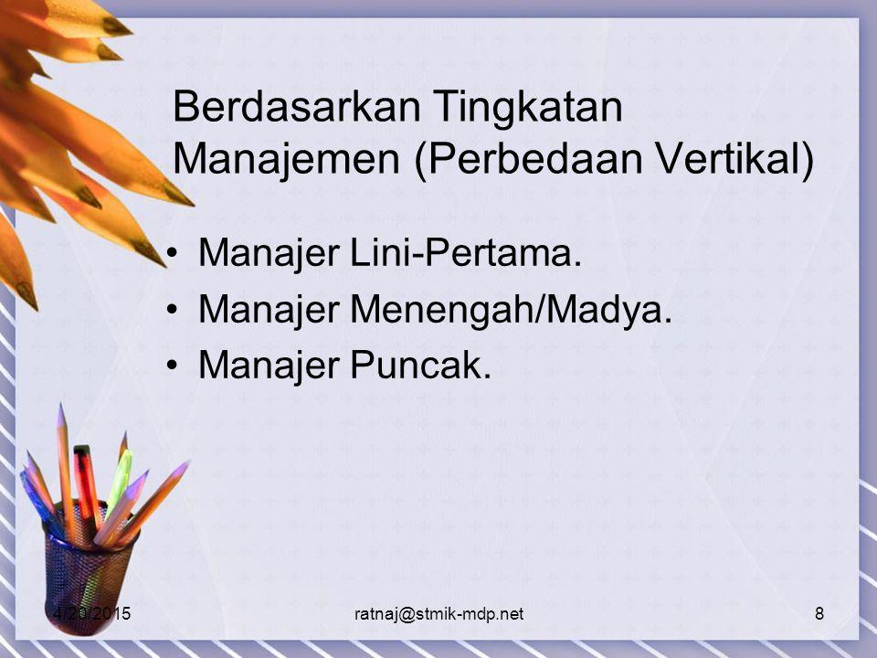 Berdasarkan Tingkatan Manajemen (Perbedaan Vertikal)