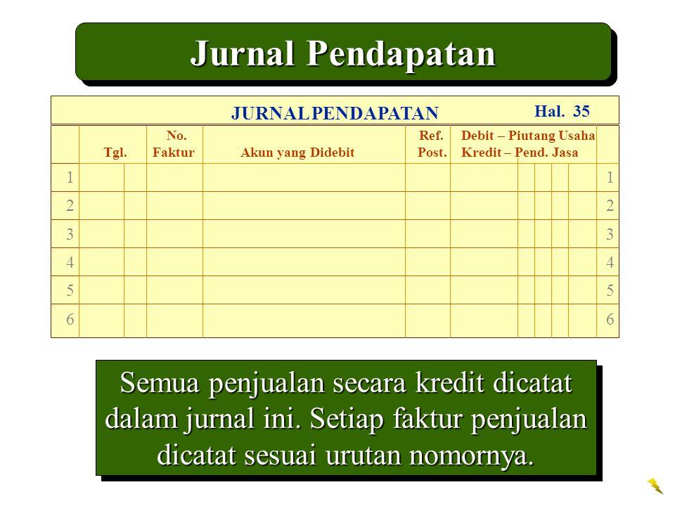 Jurnal Pendapatan JURNAL PENDAPATAN. No. Ref. Debit – Piutang Usaha.