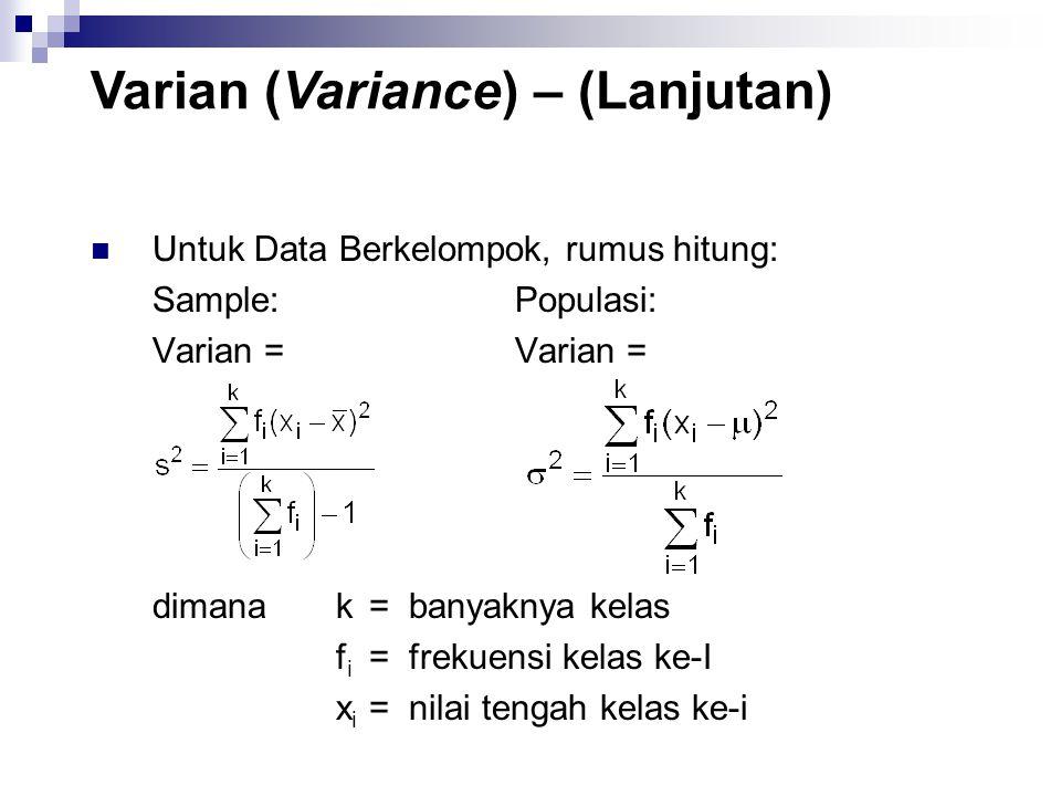 Varian (Variance) – (Lanjutan)