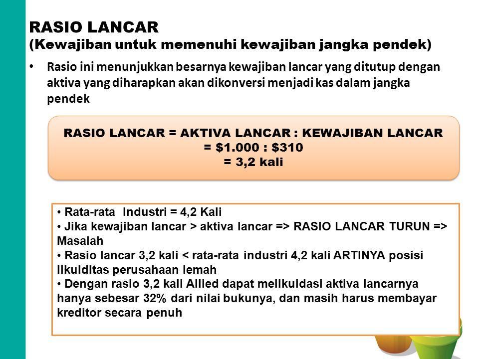 RASIO LANCAR (Kewajiban untuk memenuhi kewajiban jangka pendek)