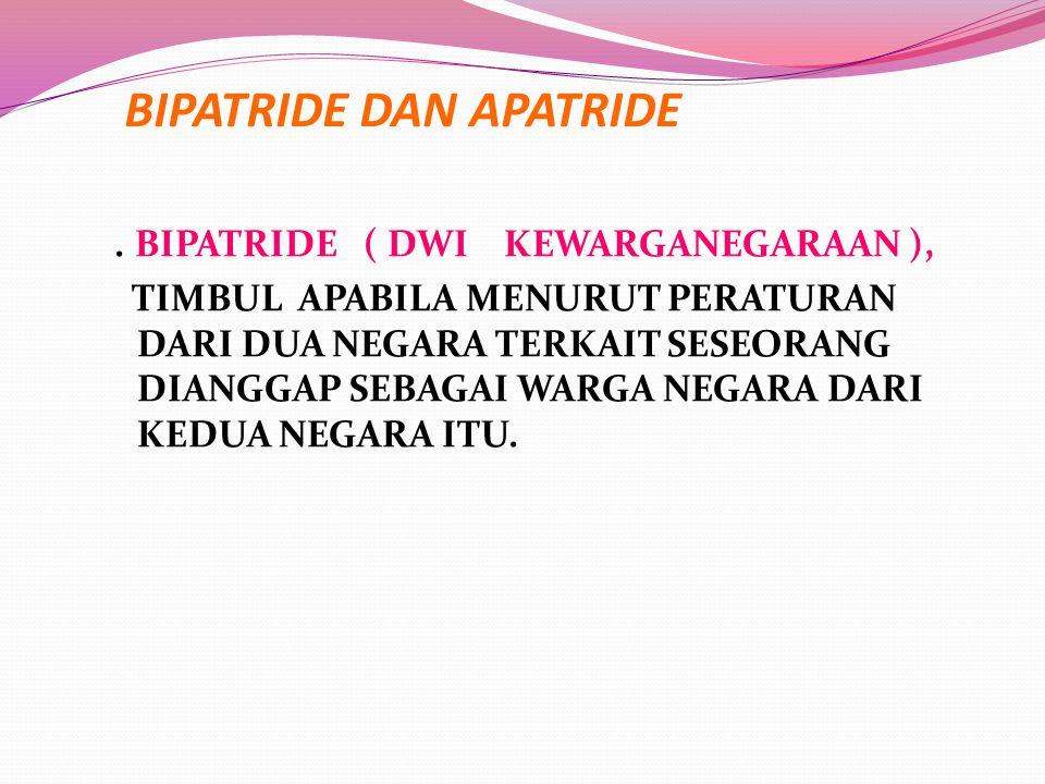 BIPATRIDE DAN APATRIDE