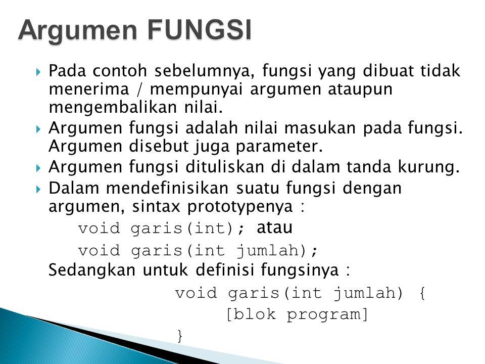 Argumen FUNGSI void garis(int); atau void garis(int jumlah);