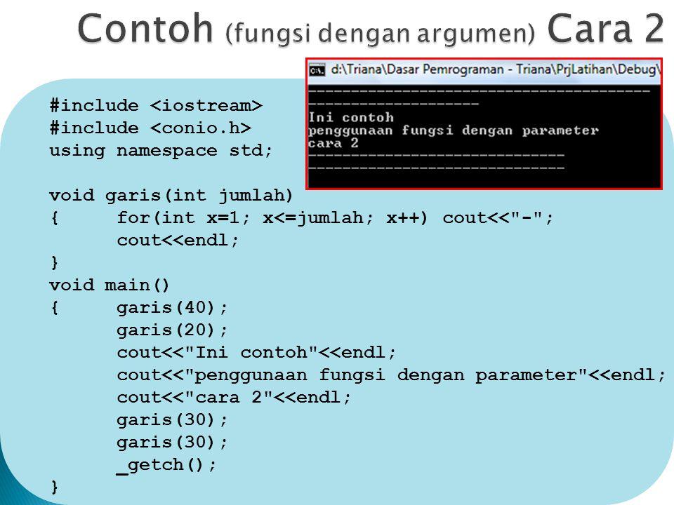 Contoh (fungsi dengan argumen) Cara 2
