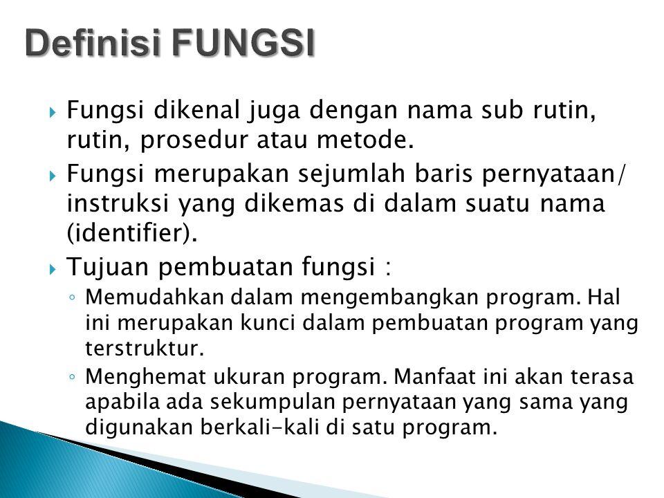 Definisi FUNGSI Fungsi dikenal juga dengan nama sub rutin, rutin, prosedur atau metode.