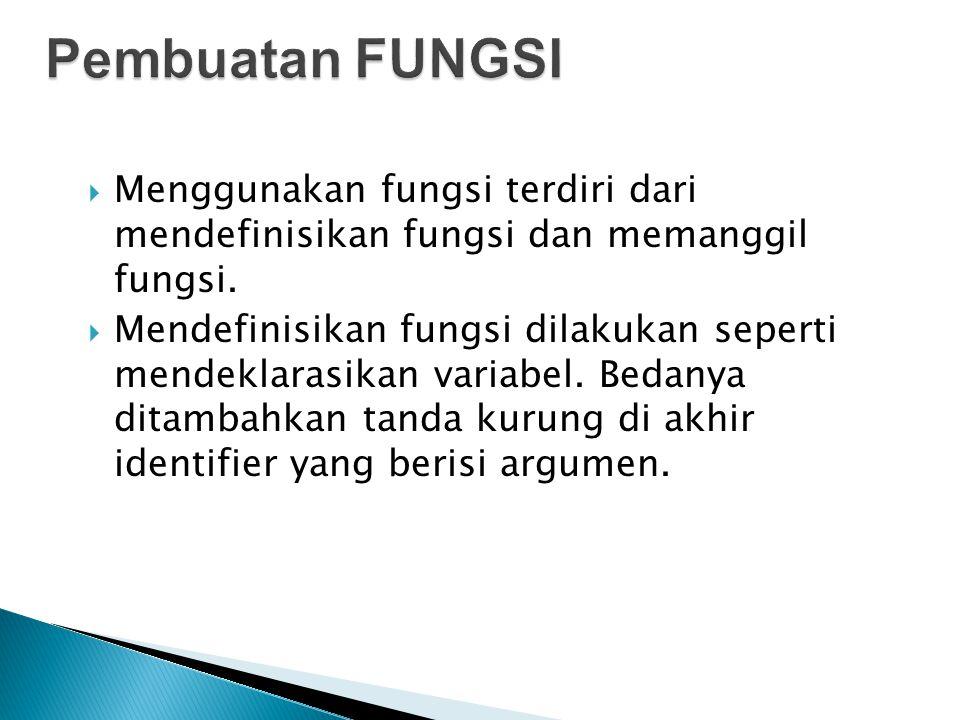 Pembuatan FUNGSI Menggunakan fungsi terdiri dari mendefinisikan fungsi dan memanggil fungsi.