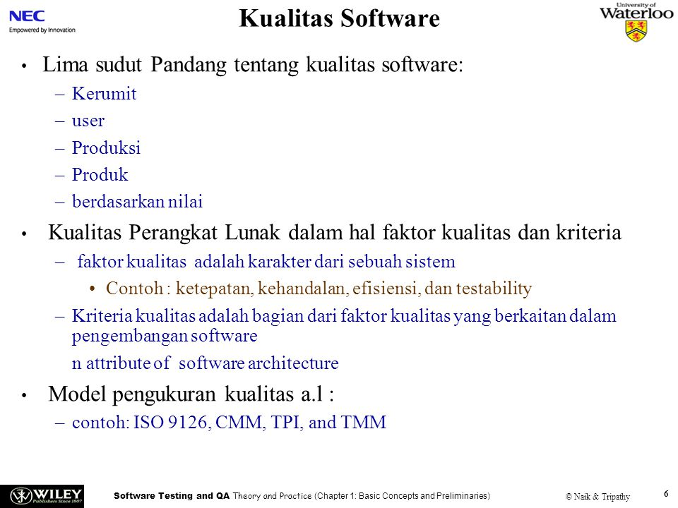 Kualitas Software Lima sudut Pandang tentang kualitas software:
