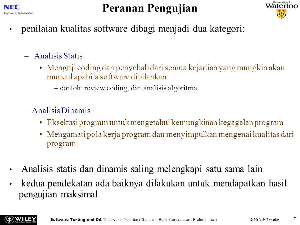 Peranan Pengujian Handouts. penilaian kualitas software dibagi menjadi dua kategori: Analisis Statis.