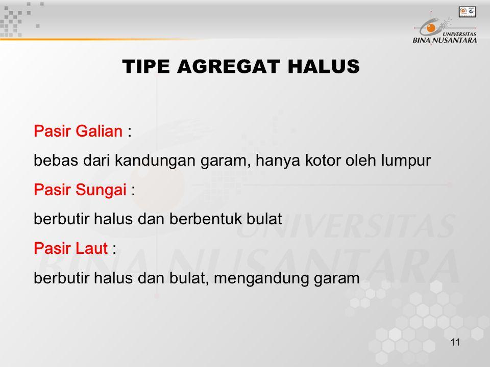 TIPE AGREGAT HALUS Pasir Galian :