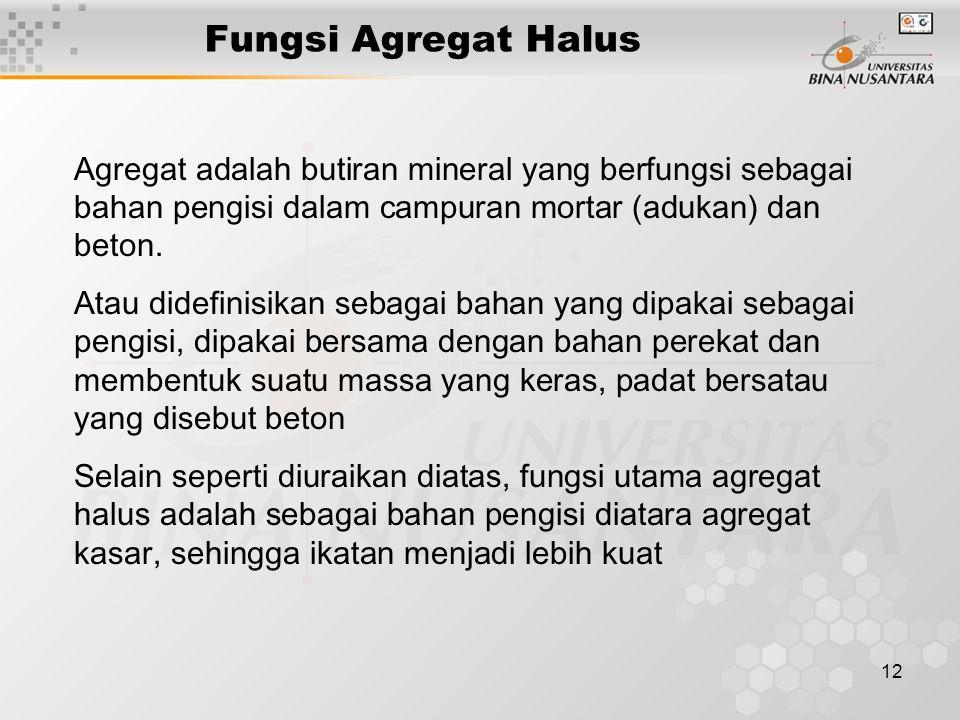 Fungsi Agregat Halus Agregat adalah butiran mineral yang berfungsi sebagai bahan pengisi dalam campuran mortar (adukan) dan beton.