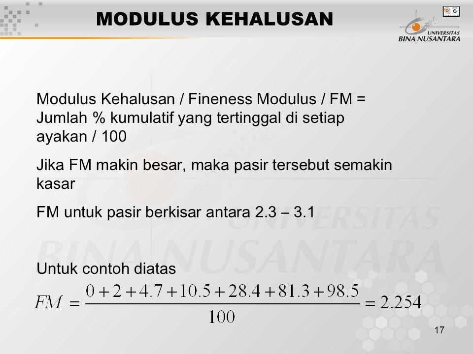 MODULUS KEHALUSAN Modulus Kehalusan / Fineness Modulus / FM = Jumlah % kumulatif yang tertinggal di setiap ayakan / 100.