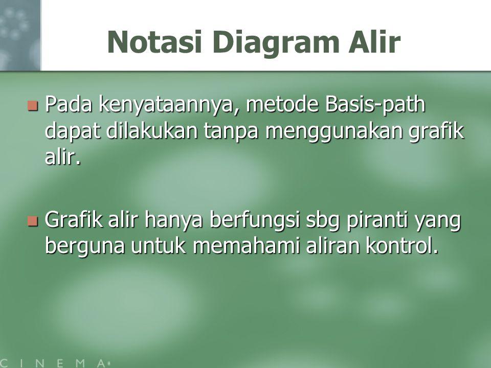 Notasi Diagram Alir Pada kenyataannya, metode Basis-path dapat dilakukan tanpa menggunakan grafik alir.