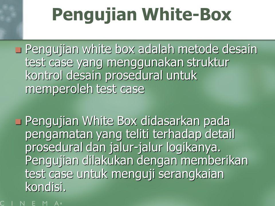 Pengujian White-Box Pengujian white box adalah metode desain test case yang menggunakan struktur kontrol desain prosedural untuk memperoleh test case.