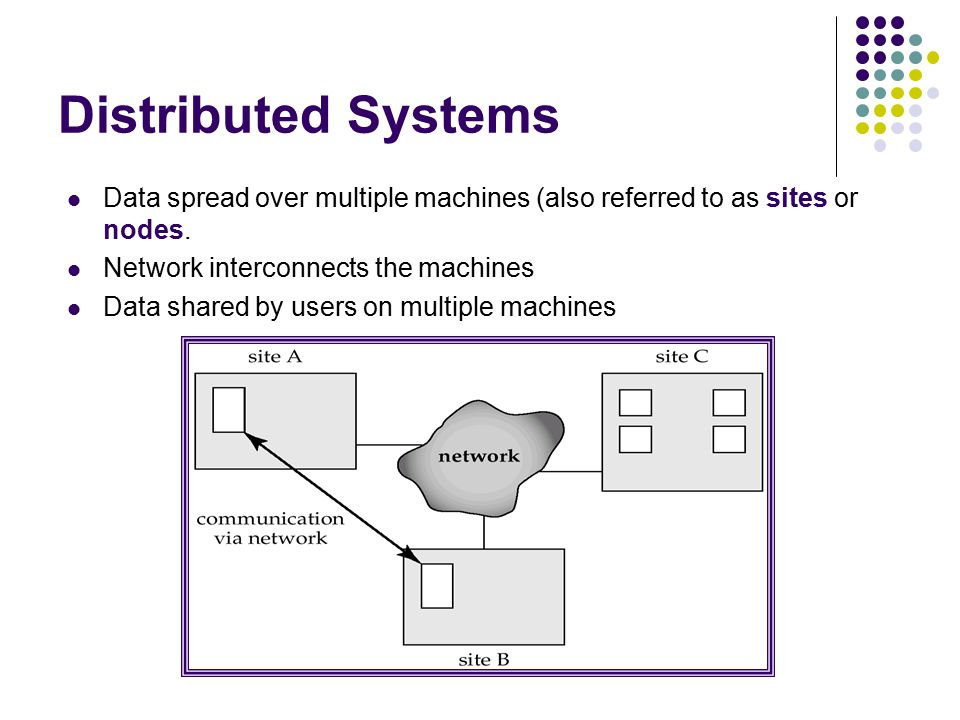 Distributed Systems Data spread over multiple machines (also referred to as sites or nodes. Network interconnects the machines.
