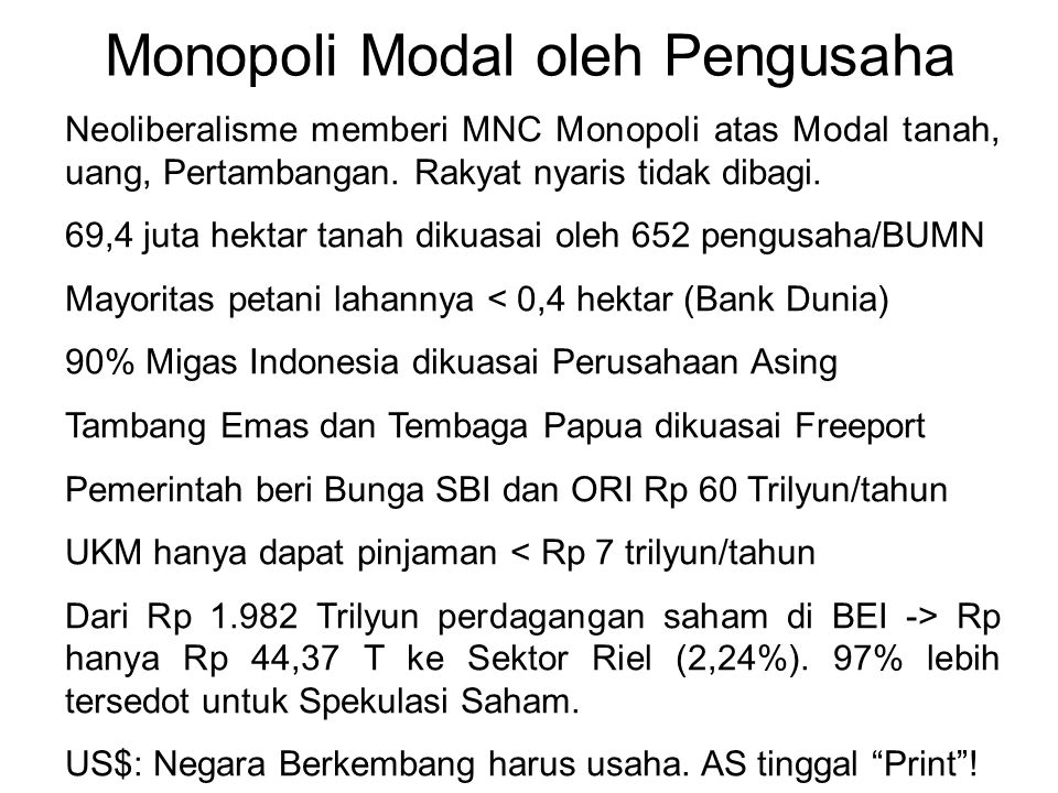 Monopoli Modal oleh Pengusaha