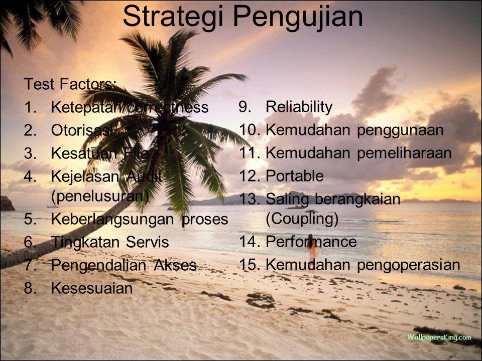 Strategi Pengujian Test Factors: Ketepatan/correctness Otorisasi