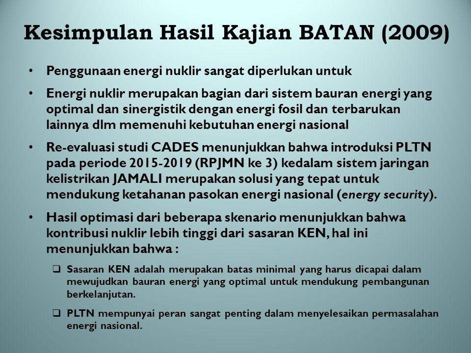 Kesimpulan Hasil Kajian BATAN (2009)