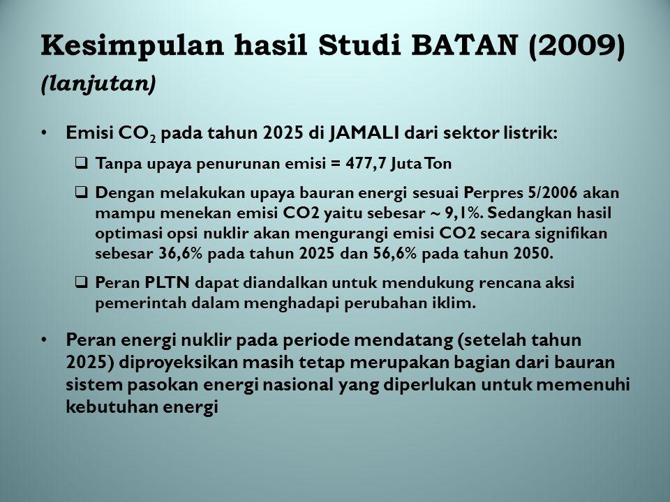 Kesimpulan hasil Studi BATAN (2009) (lanjutan)