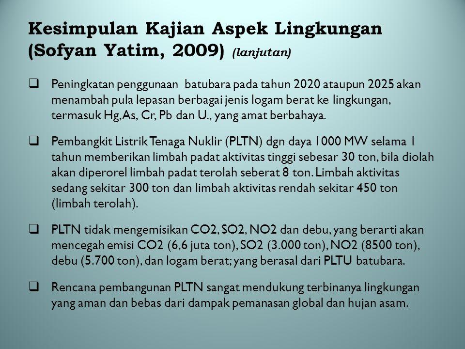 Kesimpulan Kajian Aspek Lingkungan (Sofyan Yatim, 2009) (lanjutan)
