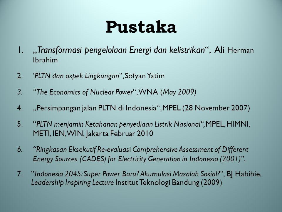 """Pustaka """"Transformasi pengelolaan Energi dan kelistrikan , Ali Herman Ibrahim. 'PLTN dan aspek Lingkungan , Sofyan Yatim."""