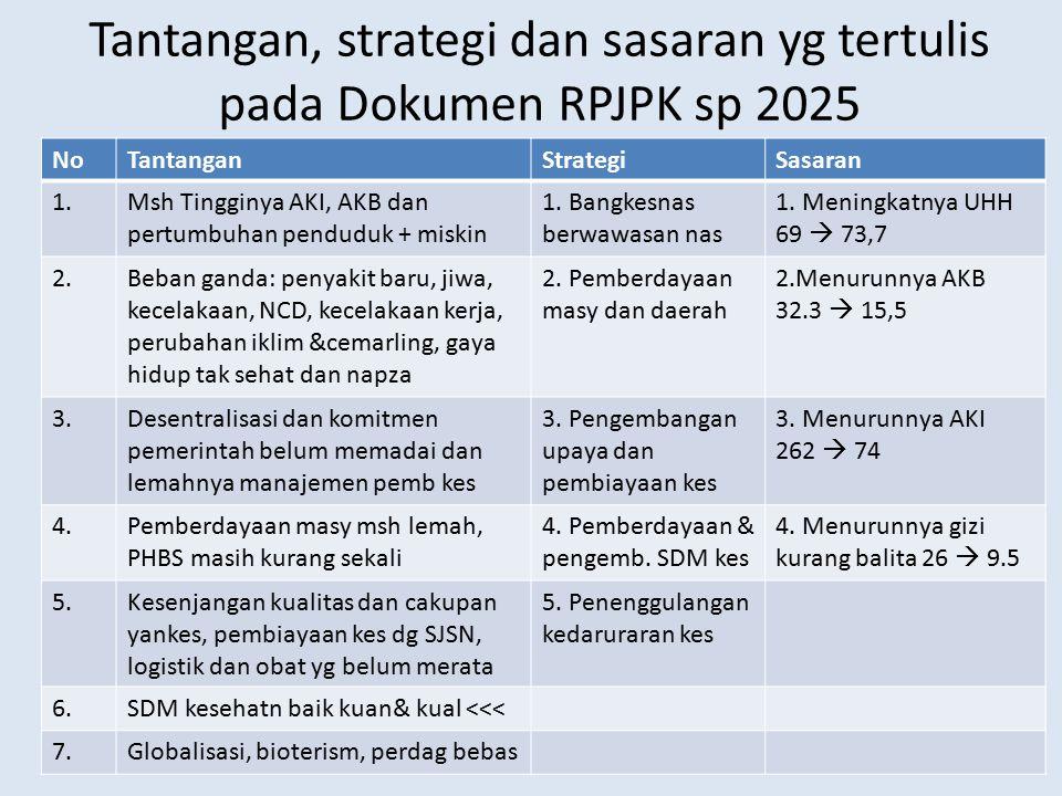 Tantangan, strategi dan sasaran yg tertulis pada Dokumen RPJPK sp 2025