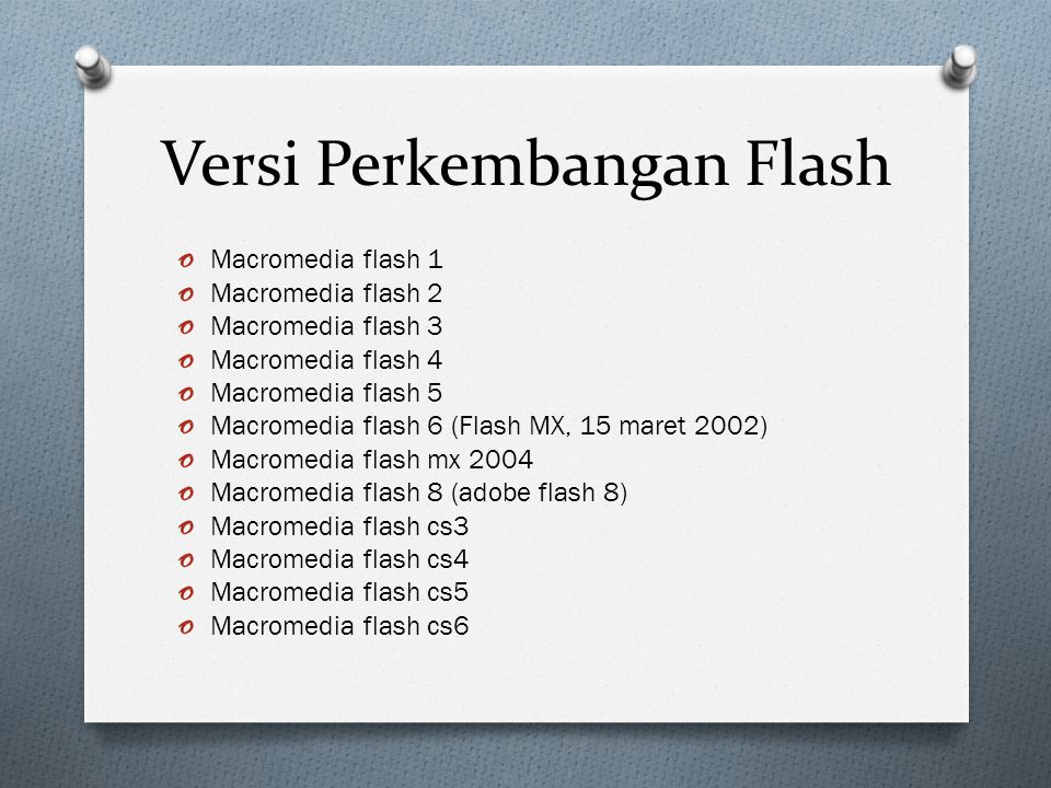 Versi Perkembangan Flash