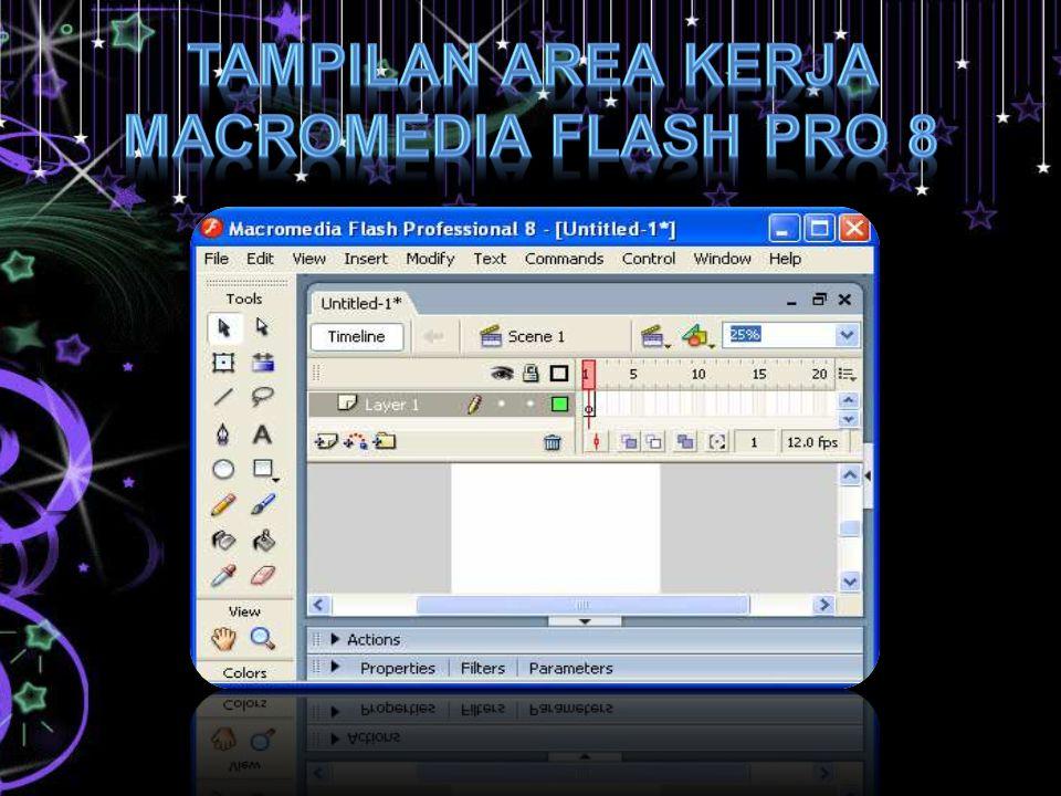 Tampilan area kerja Macromedia Flash Pro 8