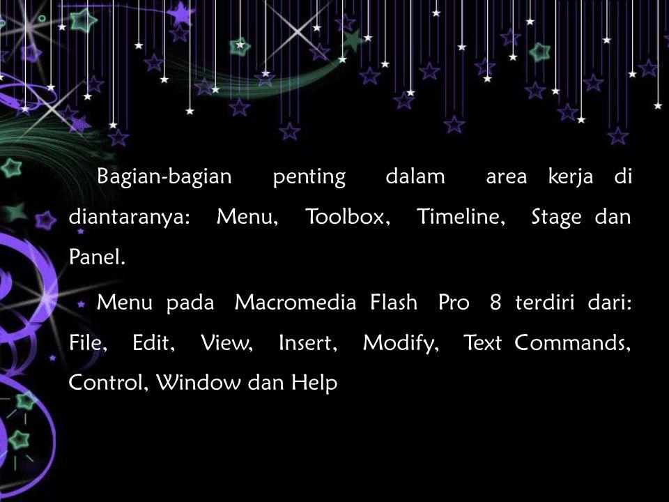Bagian-bagian penting dalam area kerja di diantaranya: Menu, Toolbox, Timeline, Stage dan Panel.