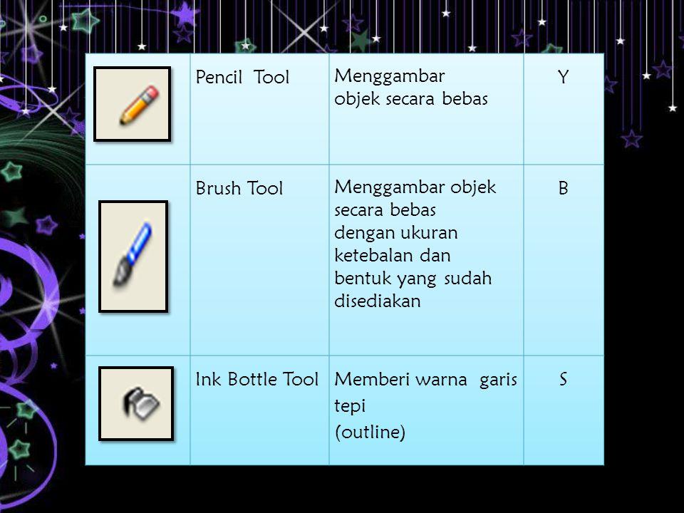 Pencil Tool Menggambar objek secara bebas. Y. Brush Tool.