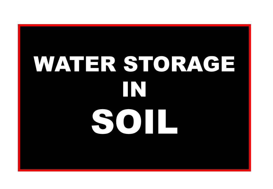 WATER STORAGE IN SOIL