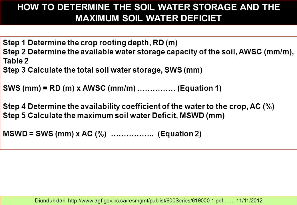 HOW TO DETERMINE THE SOIL WATER STORAGE AND THE MAXIMUM SOIL WATER DEFICIET