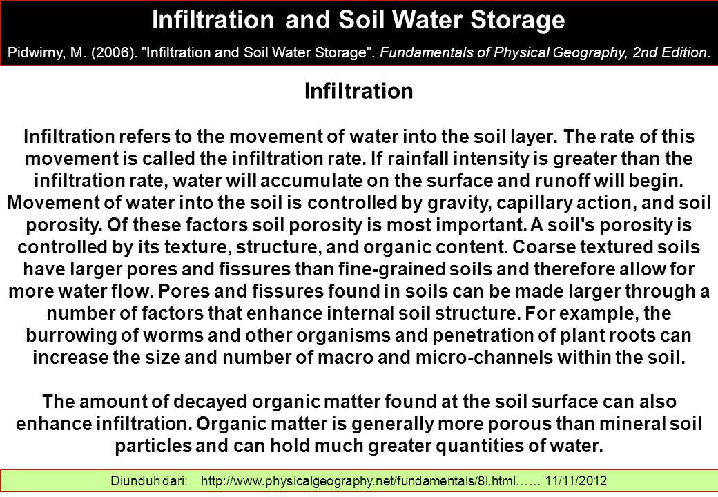 Infiltration and Soil Water Storage