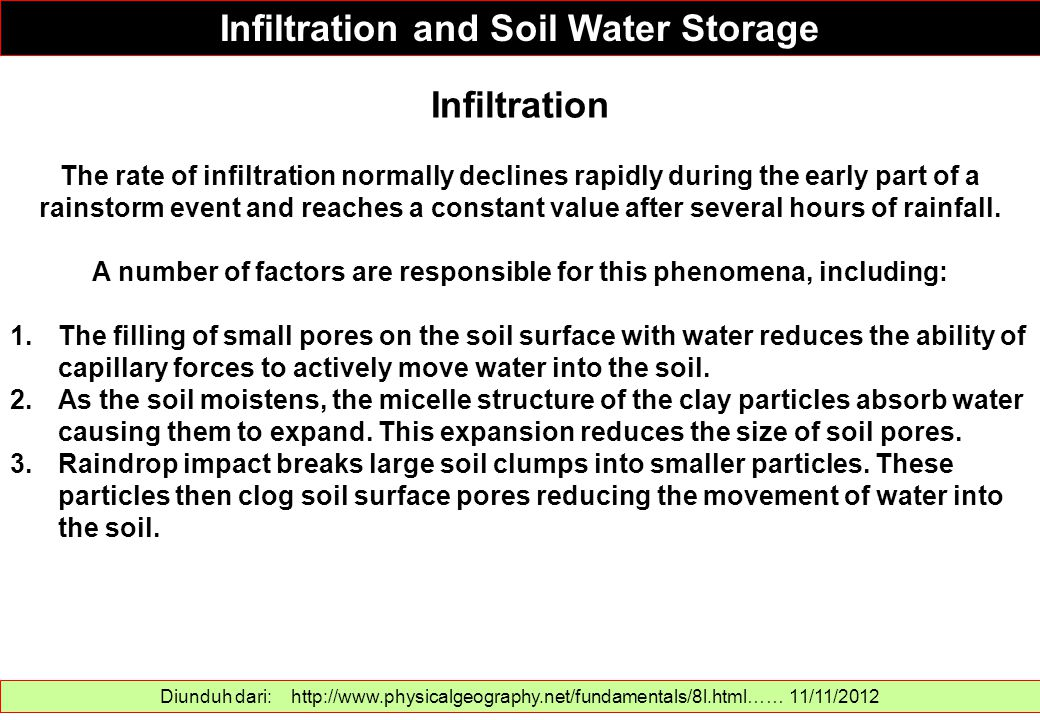 Infiltration and Soil Water Storage Infiltration