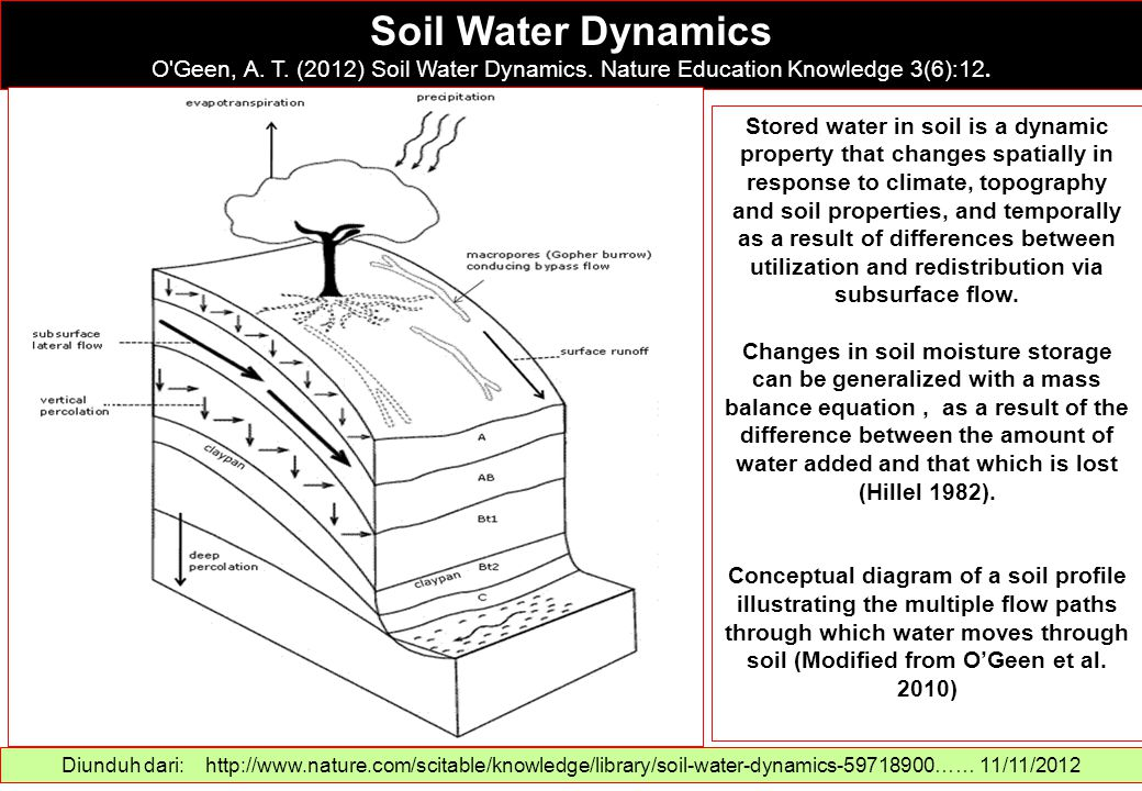 Soil Water Dynamics O Geen, A. T. (2012) Soil Water Dynamics. Nature Education Knowledge 3(6):12.