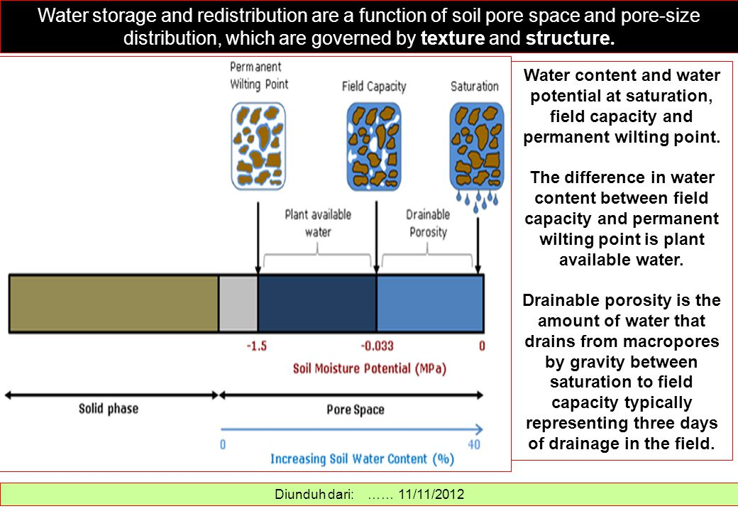 . Water storage and redistribution are a function of soil pore space and pore-size distribution, which are governed by texture and structure.