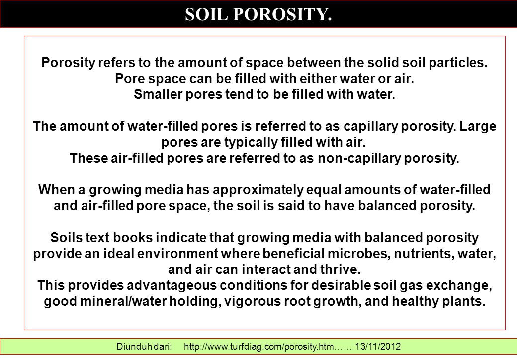 SOIL POROSITY. Porosity refers to the amount of space between the solid soil particles. Pore space can be filled with either water or air.