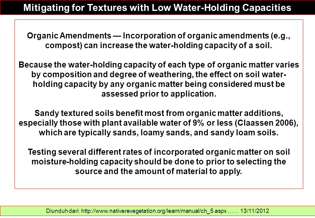 Mitigating for Textures with Low Water-Holding Capacities
