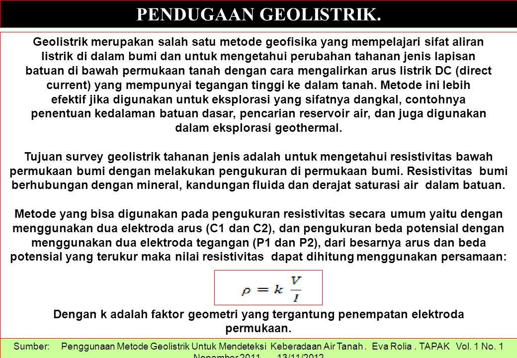 PENDUGAAN GEOLISTRIK. Geolistrik merupakan salah satu metode geofisika yang mempelajari sifat aliran.
