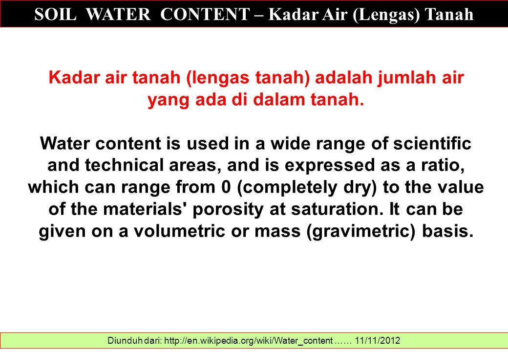 SOIL WATER CONTENT – Kadar Air (Lengas) Tanah