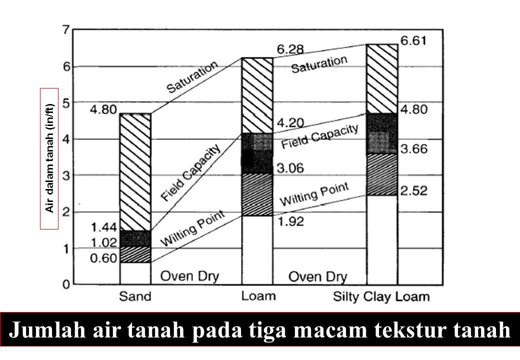 Air dalam tanah (in/ft) Jumlah air tanah pada tiga macam tekstur tanah