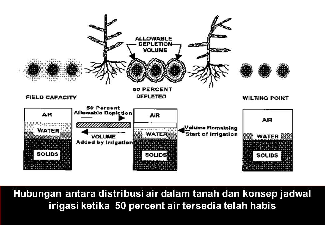 Hubungan antara distribusi air dalam tanah dan konsep jadwal irigasi ketika 50 percent air tersedia telah habis
