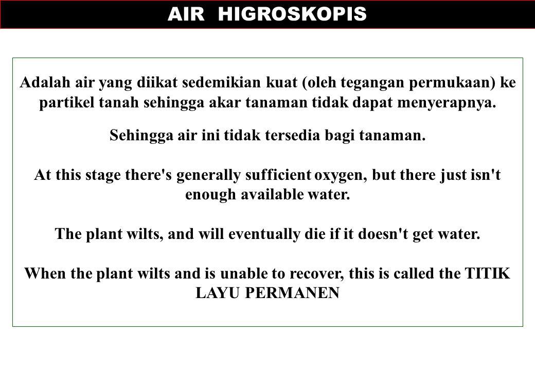 AIR HIGROSKOPIS Adalah air yang diikat sedemikian kuat (oleh tegangan permukaan) ke partikel tanah sehingga akar tanaman tidak dapat menyerapnya.