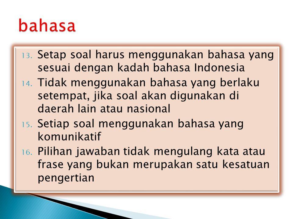 bahasa Setap soal harus menggunakan bahasa yang sesuai dengan kadah bahasa Indonesia.