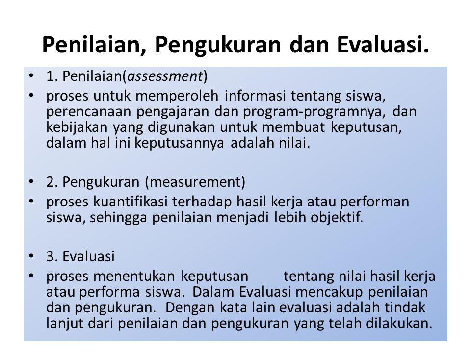 Penilaian, Pengukuran dan Evaluasi.
