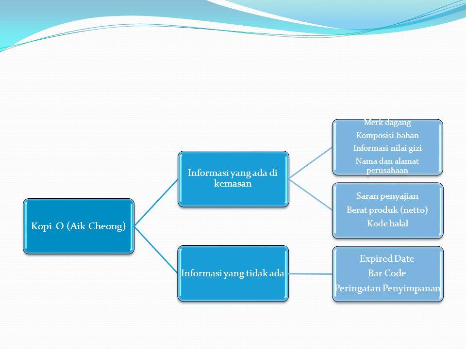 Kopi-O (Aik Cheong) Saran penyajian Berat produk (netto) Kode halal