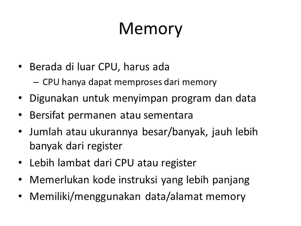 Memory Berada di luar CPU, harus ada